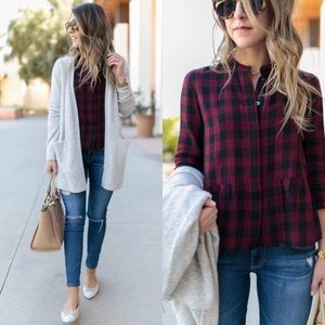 Madewell Lakeside peplum shirt in buffalo check